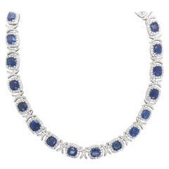 Sapphire Diamond XO Necklace 55.23 Carat 18 Karat White Gold