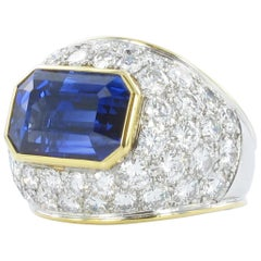 Sapphire Diamond Yellow and White Gold Ring