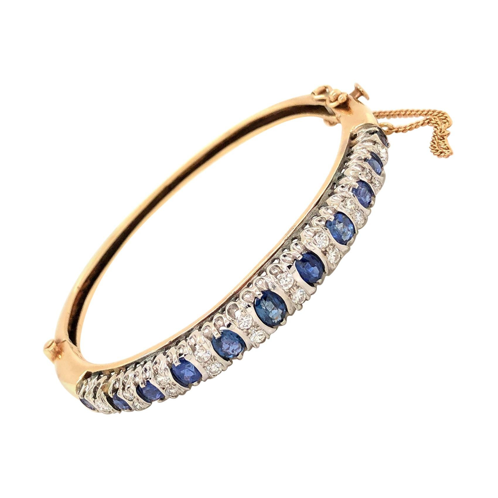 Sapphire Diamond Yellow Gold Bangle Bracelet