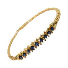 Sapphire Diamond Yellow Gold Bracelet
