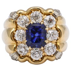 Sapphire Diamond Yellow Gold Unisex Ring
