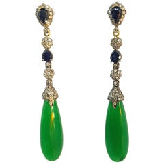 Sapphire, Diamonds and Jade in 18 Karat White Gold, Silver Earrings