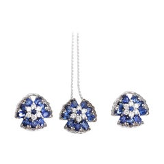 Sapphire Diamonds Pendant Earrings Chain Set, 2020