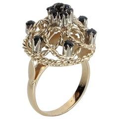 Sapphire Dome Filigree Cocktail Ring Vintage 14 Karat Gold Estate Fine Jewelry