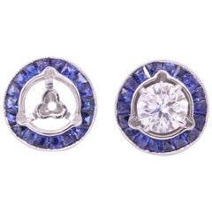 Sapphire Earring Jackets 1.03 Carat Platinum