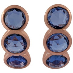 Sapphire Earring Studded in 18 Karat Rose Gold