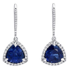 Sapphire Earrings 3.14 Carat Trillion Shaped White Gold Diamonds