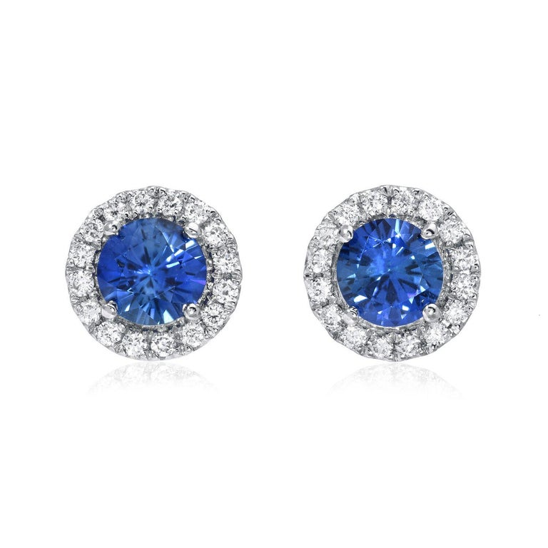 Modern Sapphire Earrings Round 0.97 Carats For Sale