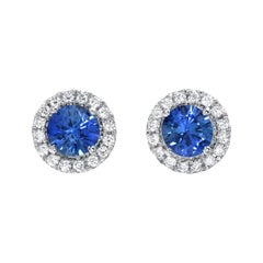 Sapphire Earrings Round 0.97 Carats