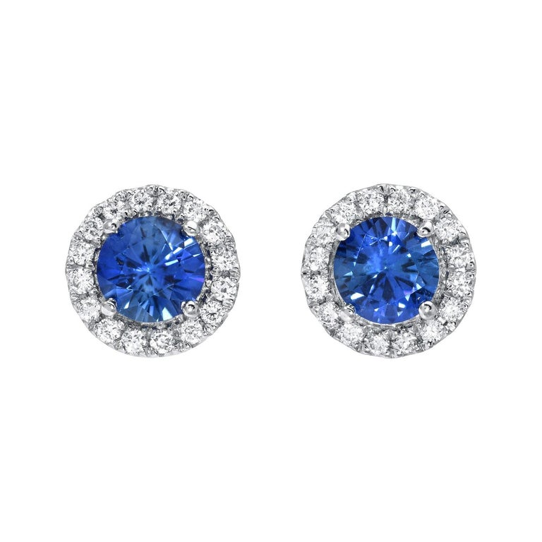 Sapphire Earrings Round 0.97 Carats For Sale