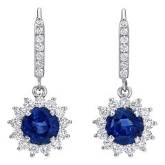 Sapphire Earrings Rounds 3.47 Carats