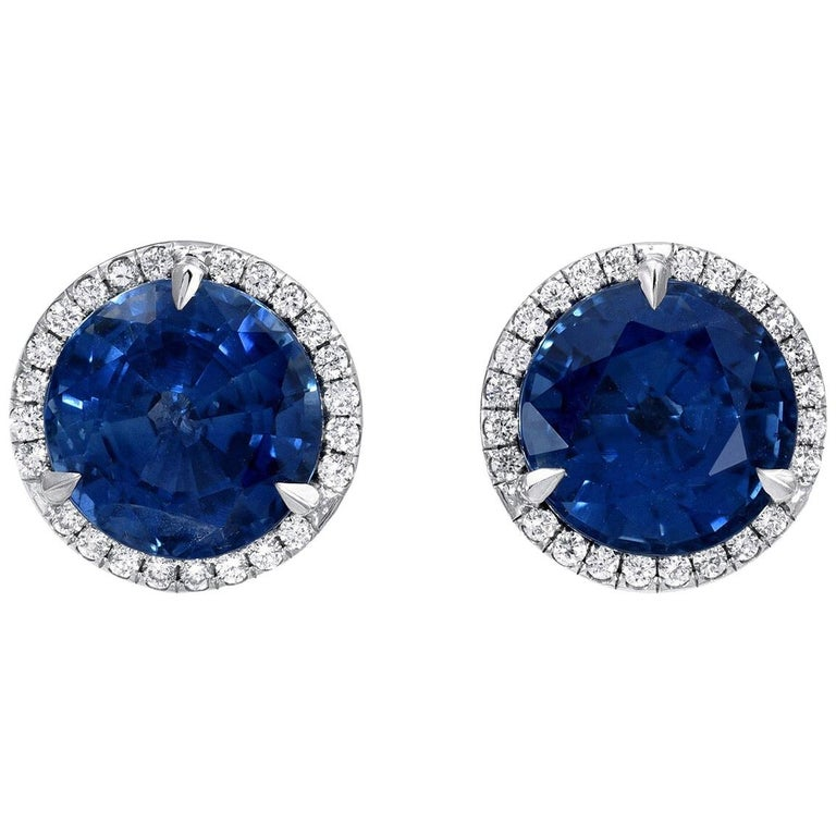 Sapphire Earrings Round Studs 4.12 Carat For Sale
