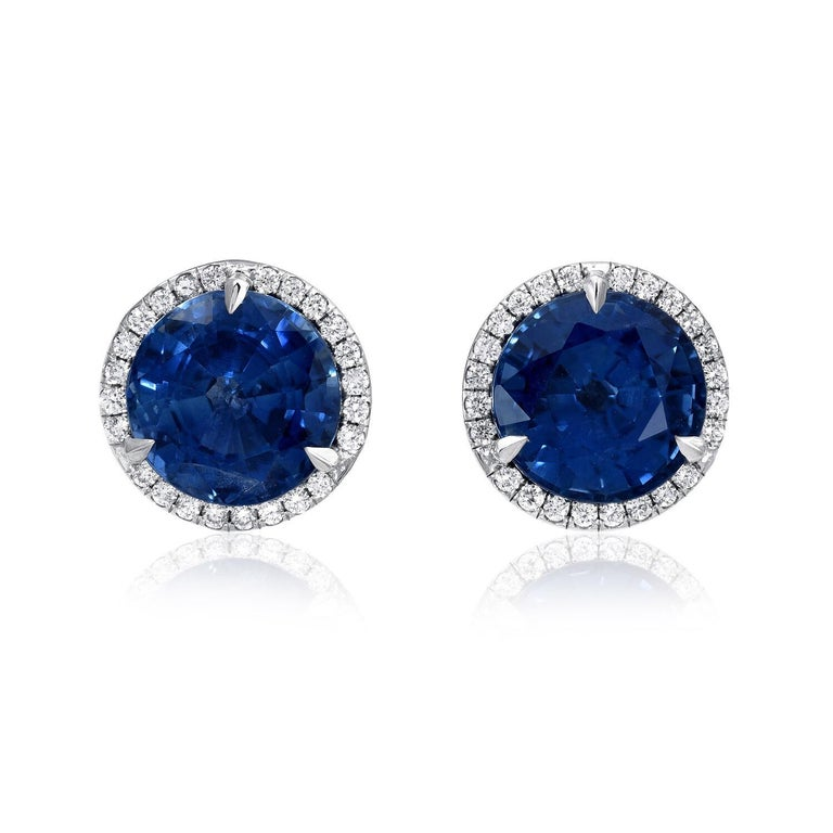 Modern Sapphire Earrings Round Studs 4.12 Carat For Sale
