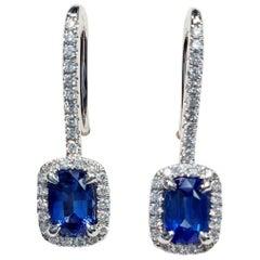 Sapphire Earrings with White Diamonds