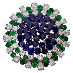 Sapphire Emerald and Diamond Brooch, circa 1950