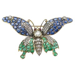 Sapphire, Emerald and Diamond Butterfly Brooch