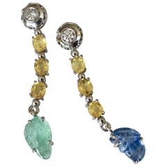 Sapphire Emerald and Diamond Drop 18 Karat Gold Earrings