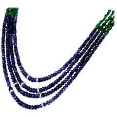 Sapphire, Emerald and Diamond Four-Row Bead Necklace in 18 Carat White Gold