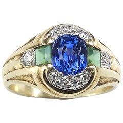 Sapphire, Emerald and Diamond Vintage 14 Carat Gold Ring, circa 1950