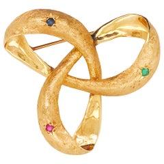 Sapphire, Emerald and Ruby Gemstone Florentine Finish Ribbon Brooch/Pin 14k Gold