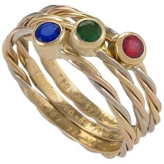 Sapphire, Emerald and Ruby Ring Set by Cartier