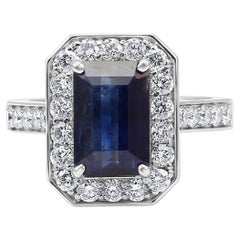 Sapphire Emerald Cut White Round Diamond Halo Gold Bridal Fashion Cocktail Ring