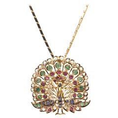 Sapphire Emerald Ruby and Pearl Gold Peacock Brooch Pendant Necklace
