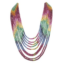 Sapphire, Emerald, Ruby Faceted 9-Strand Beaded Necklace