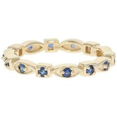 Sapphire Eternity Band, 14 Karat Yellow Gold Ring Round Cut .38 Carat