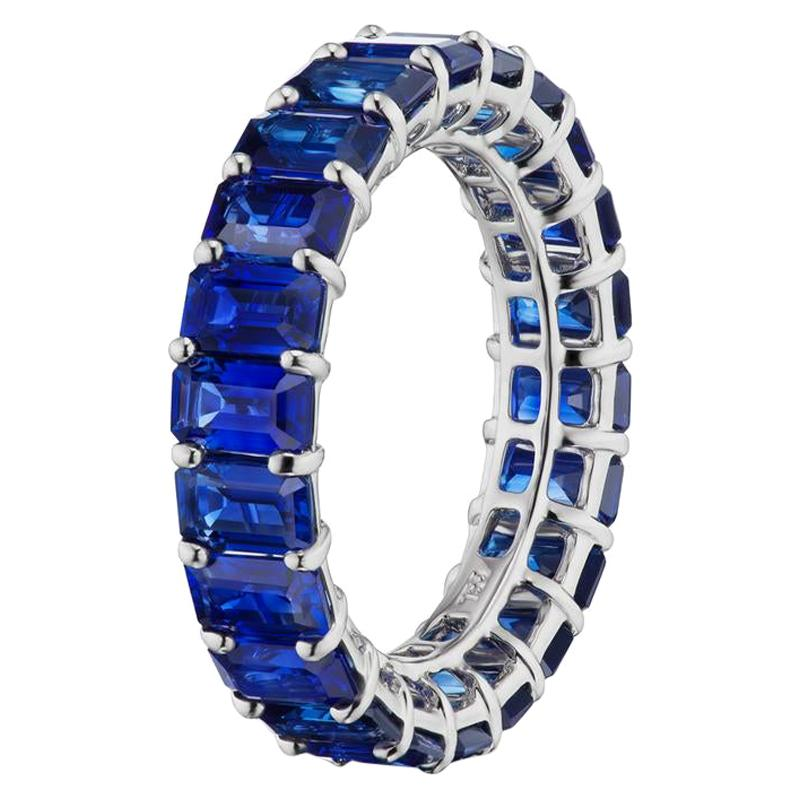 Blue Sapphire Eternity Band In 18K White Gold By RayazTakat