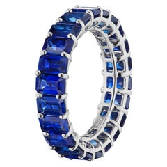 Takat Sapphire Eternity Band In 18K White Gold