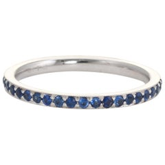 Sapphire Eternity Ring 18 Karat White Gold Estate Fine Jewelry Stacking