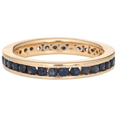 Sapphire Eternity Ring Vintage 14 Karat Yellow Gold Estate Stacking Band