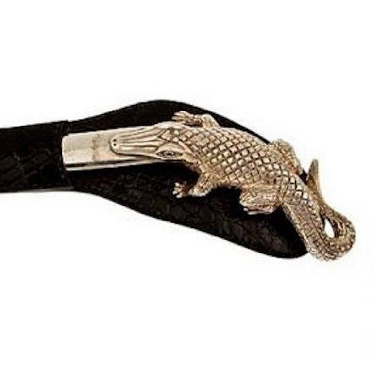 Sapphire Eyes Sterling Silver Alligator Letter Opener by John Landrum Bryant In New Condition For Sale In New York, NY