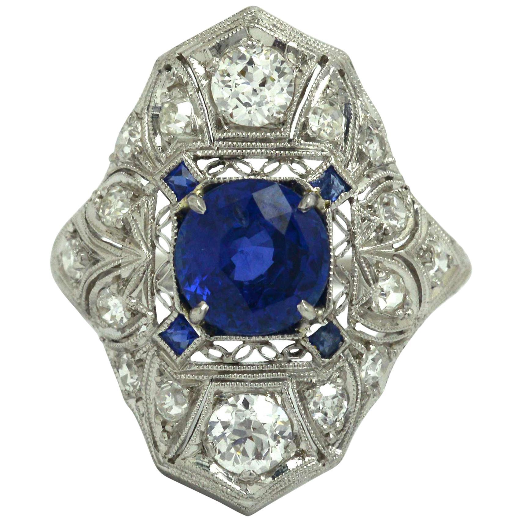 Filigree Antique Sapphire Engagement Ring Cocktail Art Deco Edwardian Platinum