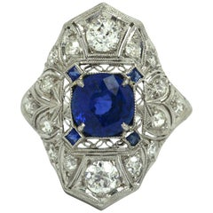Filigree Antique Sapphire Engagement Ring Cocktail Art Deco Edwardian Platinum
