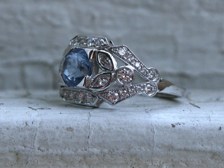 Art Nouveau Sapphire Floral Diamond Ring Engagement Ring Wedding Ring in 14 Karat White Gold For Sale