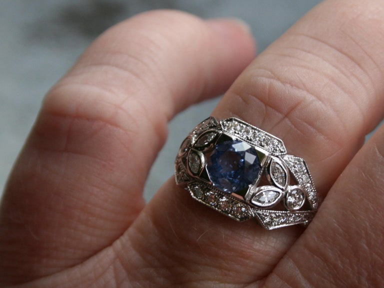 Sapphire Floral Diamond Ring Engagement Ring Wedding Ring in 14 Karat White Gold For Sale 1