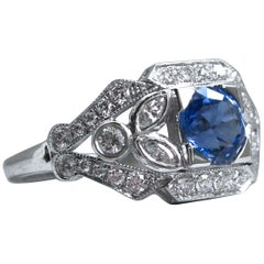 Sapphire Floral Diamond Ring Engagement Ring Wedding Ring in 14 Karat White Gold