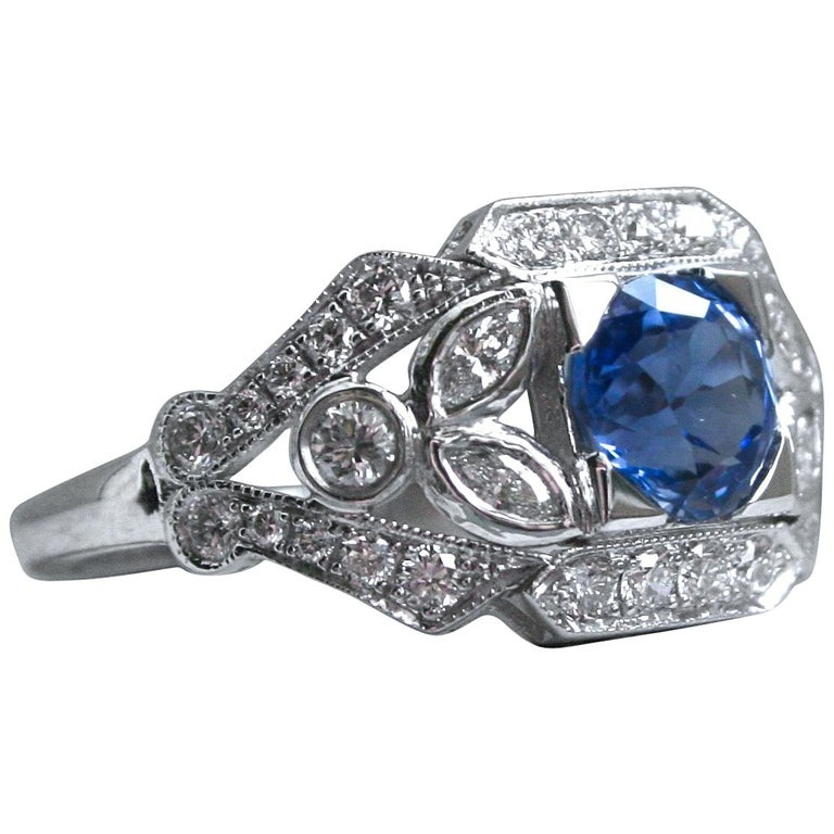 Sapphire Floral Diamond Ring Engagement Ring Wedding Ring in 14 Karat White Gold For Sale