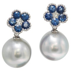 Sapphire Flower Diamond South Sea Pearl Drop Earrings 1.96 Carat 18 Karat