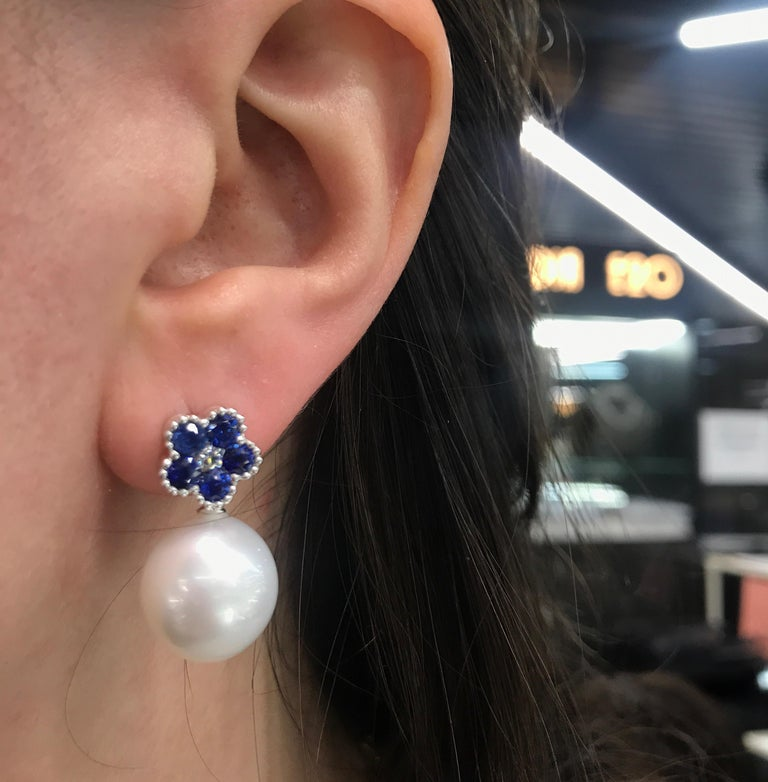Sapphire Flower Diamond South Sea Pearl Drop Earrings 1.96 Carat 18 Karat For Sale 1