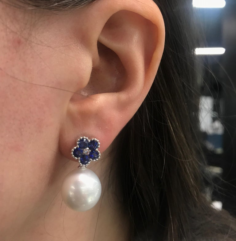Sapphire Flower Diamond South Sea Pearl Drop Earrings 1.96 Carat 18 Karat For Sale 2