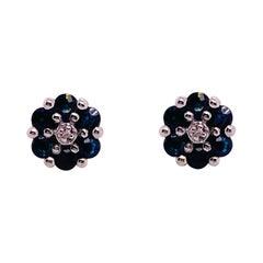 Sapphire Flower Earrings with Diamonds in Center, Blue Sapphire Cluster Earrings