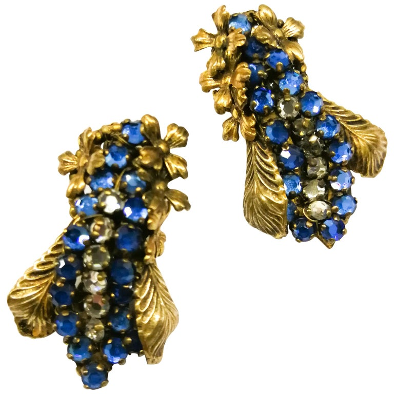 Sapphire glass pastes and gilt metal earrings, Miriam Haskell, 1950s For Sale
