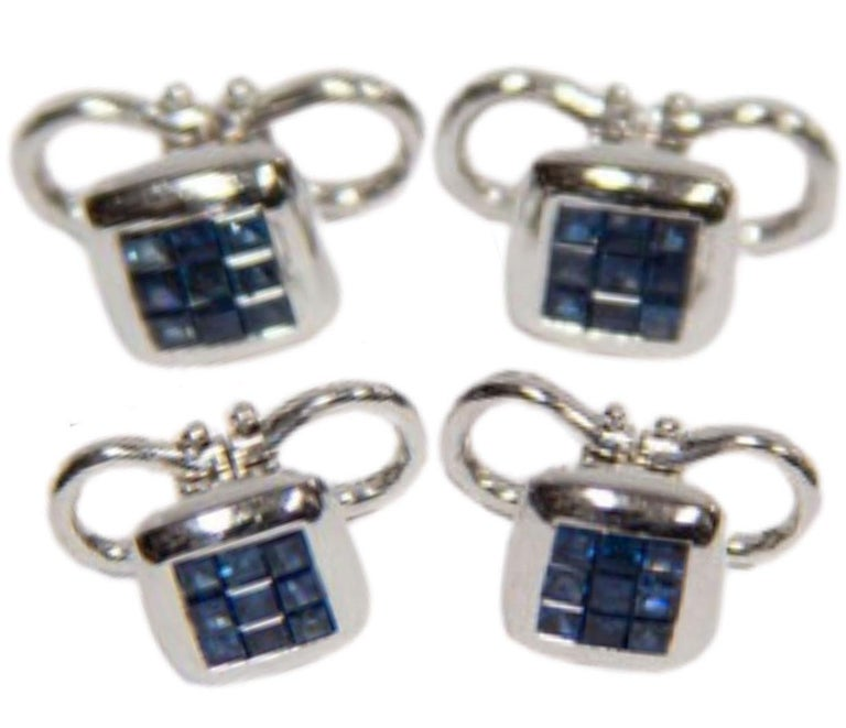 Square Cut Sapphire Gold Cufflink and Matching Shirt Stud Dress Set Estate Fine Jewelry For Sale