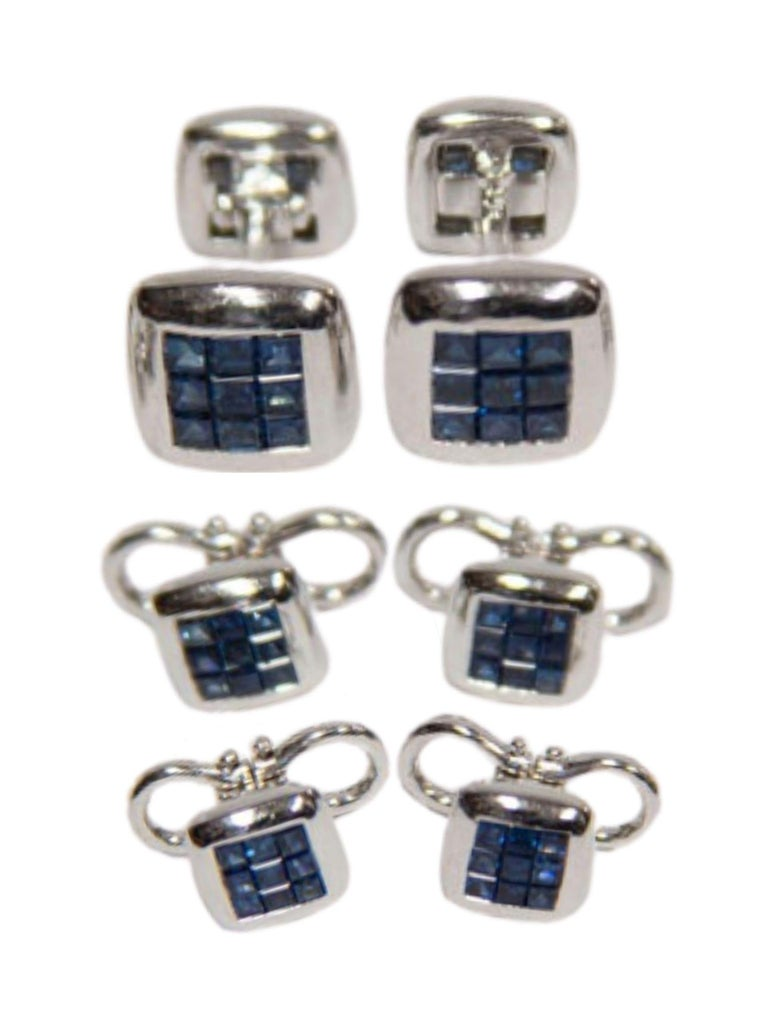 Sapphire Gold Cufflink and Matching Shirt Stud Dress Set Estate Fine Jewelry In Excellent Condition For Sale In Montreal, QC
