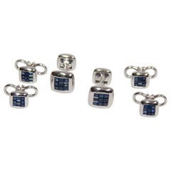 Sapphire Gold Cufflink and Matching Shirt Stud Dress Set Estate Fine Jewelry