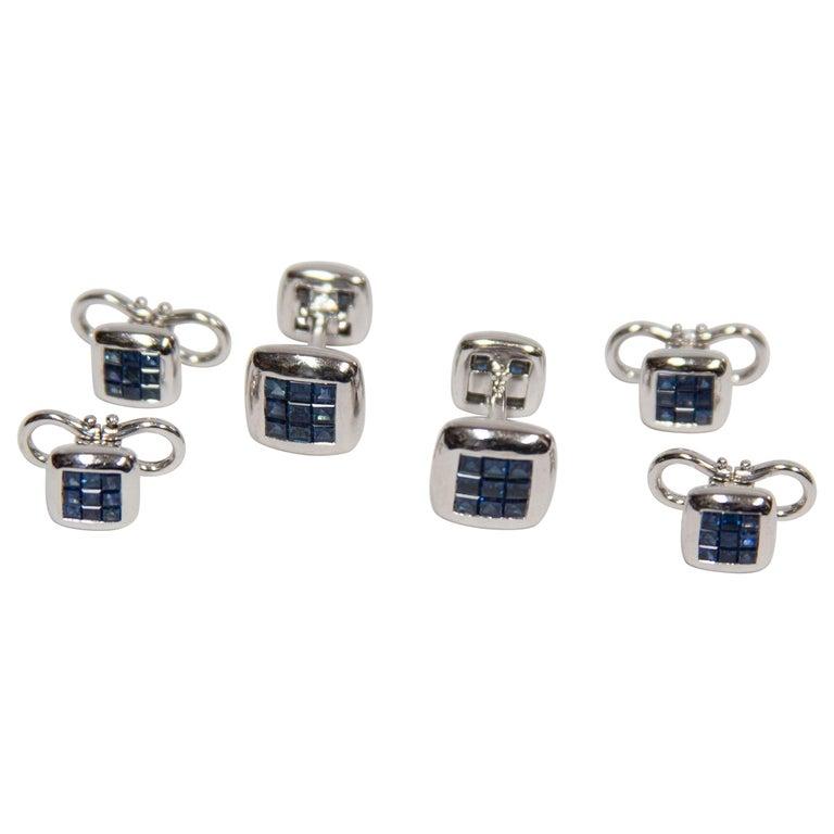 Sapphire Gold Cufflink and Matching Shirt Stud Dress Set Estate Fine Jewelry For Sale