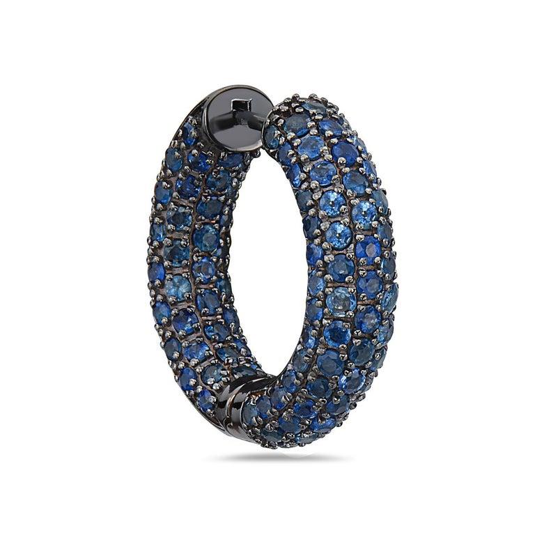 Round Cut Sapphire Hoop Earrings in Black Rhodium Gold For Sale